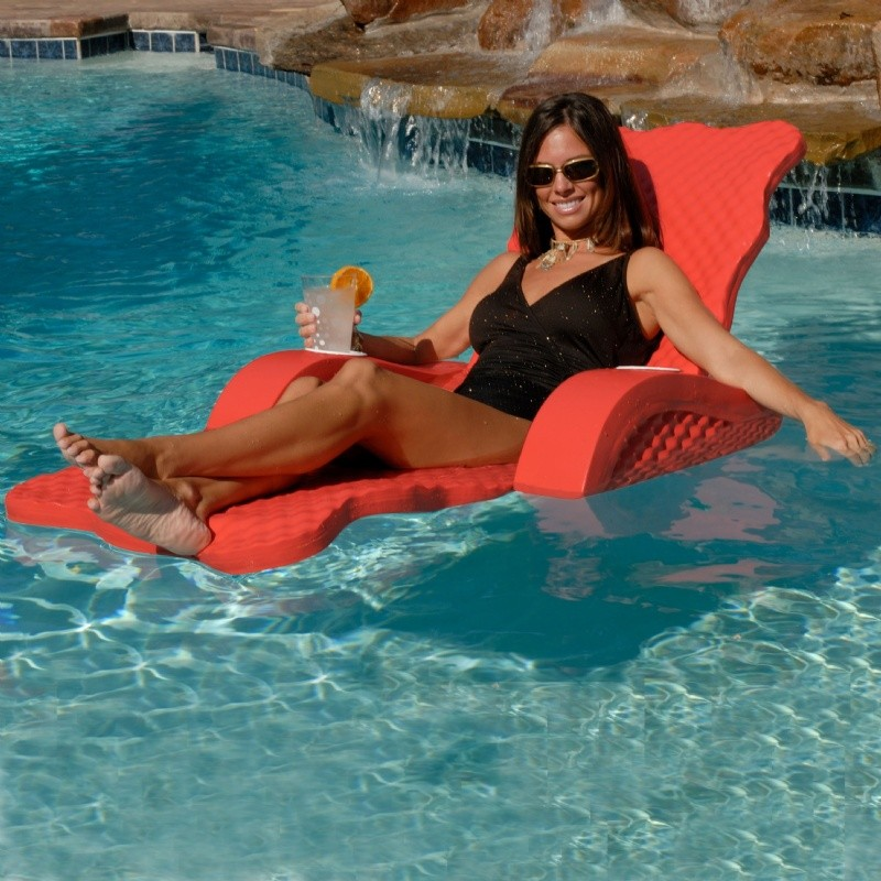 Aqua Leisure Recliner Fabric Comfort Lounge Floating Pool Chair: Scalloped Foam Pool Lounger