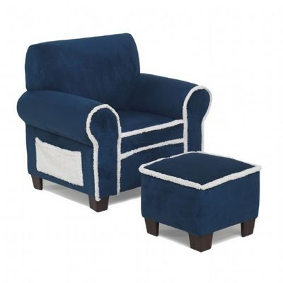 Club Chair and Ottoman Navy Blue with Sherpa