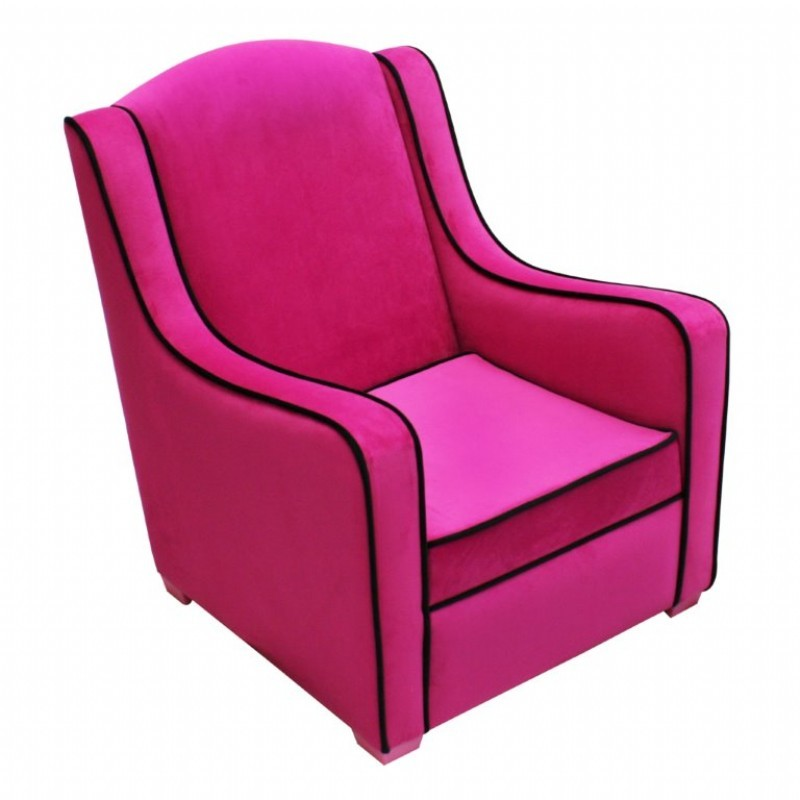 Tween camille chair hot pink black 96002 cozydays for Black and pink furniture
