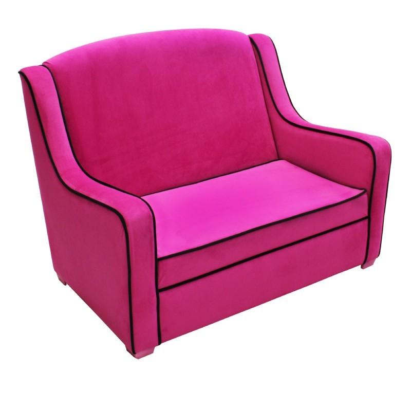 Tween camille sofa hot pink black 96003 cozydays for Black and pink furniture