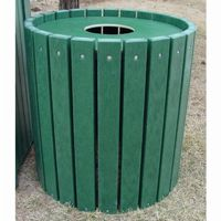 Heavy Duty Round Resinwood Trash Receptacle 32 Gal. FF-PB32R-HD