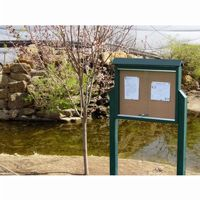 Medium Message Center Resinwood Two Sides, Two Posts 36 × 26 Inch. FF-PBMC2DP