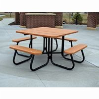 Square Plastic Recycled Picnic Bench and Table 4 Feet FF-PB4-SQPIC