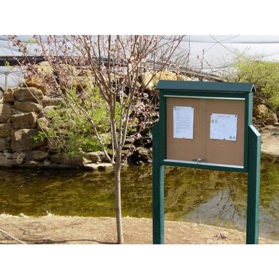 Medium Message Center Resinwood Two Sides, Two Posts 36 x 26 Inch. FF-PBMC2DP