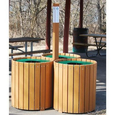 Recycling Center Resinwood and Recycled Plastic 32x3 Gallons FF-PB96-REC