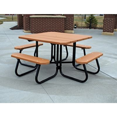 Square Plastic Recycled Picnic Bench And Table 4 Feet Ff