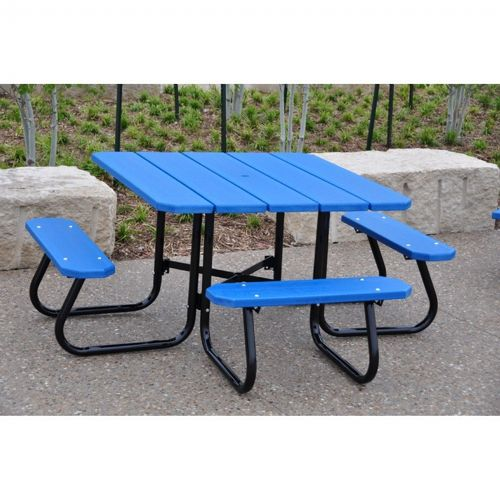 Square Plastic Recycled Picnic Bench and Table 4 Feet-ADA FF-PB4-SQPICADA