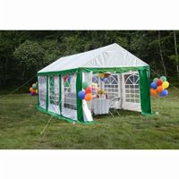 10x20 Party Tent, 8-Leg Galvanized Steel Frame, Green with Enclosure Kit with Windows 25892