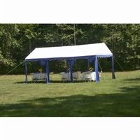 10x20 Party Tent, 8-Leg Steel Frame, White/Blue 25888