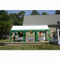 10x20 Party Tent, 8-Leg Steel Frame, White/Green 25889