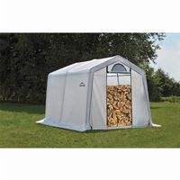"Firewood Seasoning Shed, 1-3/8"" Frame, Clear Cover 10 × 10 × 8 90396"