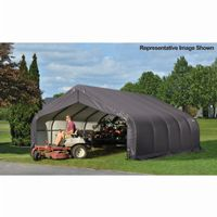 "Peak Style Storage Shelter, 2-3/8"" Frame, Gray Cover 18 × 28 × 12 ft. 80024"