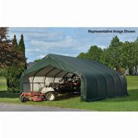 "Peak Style Storage Shelter, 2-3/8"" Frame, Green Cover 18 × 28 × 10 ft. 80006"