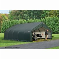 "Peak Style Storage Shelter, 2-3/8"" Frame, Green Cover 18 × 28 × 12 ft. 80025"