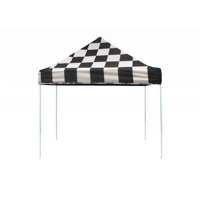 10x10 ST Pop-up Canopy, Checkered Flag Cover, Black Roller Bag 22565