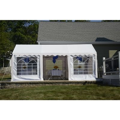 10x20 Party Tent, 8-Leg Galvanized Steel Frame, White with Enclosure Kit with Windows 25890