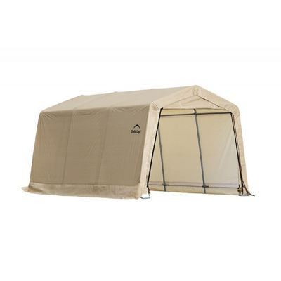 "Auto Shelter 1-3/8"" 4-Rib Peak Style Frame, Sandstone Cover 10x15x8 Portable Garage 62681"