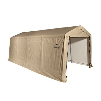 "Auto Shelter, 1-3/8"" 5-Rib Peak Style Frame, Sandstone Cover 10X20 Portable Garage 62680"