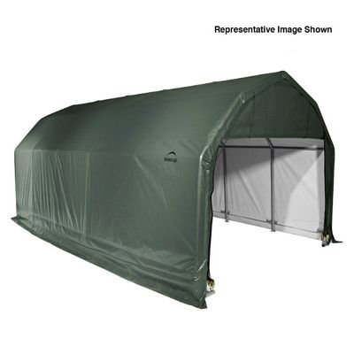 "Barn Style Storage Shelter, 2"" Frame, Green Cover 12 x 28 x 11 ft. 90254"