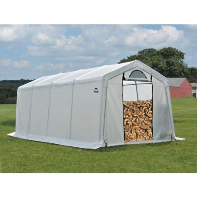 "Firewood Seasoning Shed, 1-3/8"" Frame, Clear Cover 10 x 20 x 8 90397"