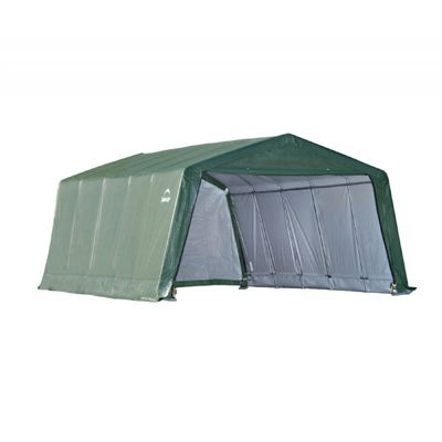 Peak Style Hay Storage Shelter, Green Cover 12x20x8 71534