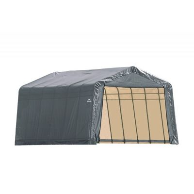 "Peak Style Storage Shelter, 1-5/8"" Frame, Gray Cover 12 x 28 x 8 ft. 76432"