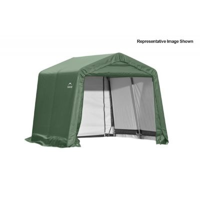 "Peak Style Storage Shelter, 1-5/8"" Frame, Green Cover 10 x 12 x 8 ft. 72814"