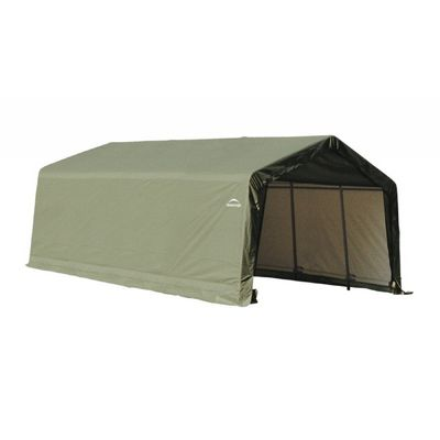 "Peak Style Storage Shelter, 1-5/8"" Frame, Green Cover 12 x 20 x 8 ft. 71444"