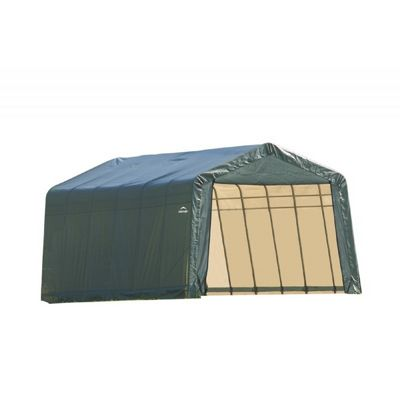 "Peak Style Storage Shelter, 1-5/8"" Frame, Green Cover 12 × 28 × 8 ft. 76442"