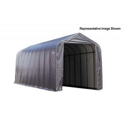 "Peak Style Storage Shelter, 2-3/8"" Frame, Gray Cover 15 x 24 x 12 ft. 95370"