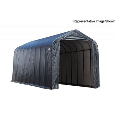 "Peak Style Storage Shelter, 2-3/8"" Frame, Gray Cover 15 x 28 x 12 ft. 75232"