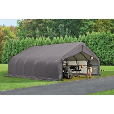"Peak Style Storage Shelter, 2-3/8"" Frame, Gray Cover 18 x 20 x 10 ft. 80043"