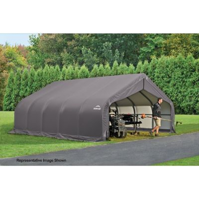 "Peak Style Storage Shelter, 2-3/8"" Frame, Gray Cover 18 x 24 x 12 ft. 80020"