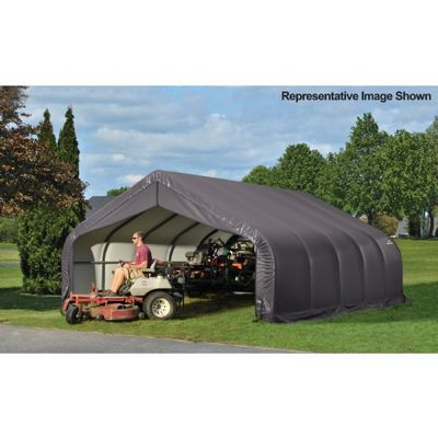 "Peak Style Storage Shelter, 2-3/8"" Frame, Gray Cover 18 x 28 x 12 ft. 80024"