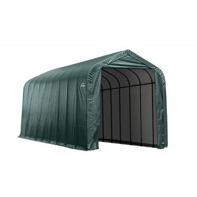 "Peak Style Storage Shelter, 2-3/8"" Frame, Green Cover 15 × 36 × 16 ft. 79441"