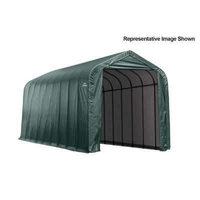 "Peak Style Storage Shelter, 2-3/8"" Frame, Green Cover 15 × 44 × 16 ft. 95944"