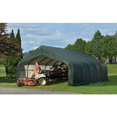 "Peak Style Storage Shelter, 2-3/8"" Frame, Green Cover 18 x 20 x 10 ft. 80044"