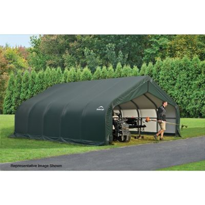 "Peak Style Storage Shelter, 2-3/8"" Frame, Green Cover 18 x 20 x 12 ft. 80017"
