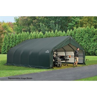 "Peak Style Storage Shelter, 2-3/8"" Frame, Green Cover 18 x 28 x 12 ft. 80025"