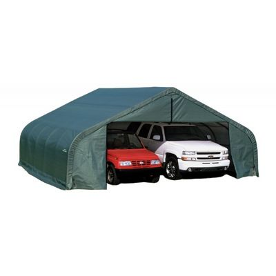 "Peak Style Storage Shelter, 2-3/8"" Frame, Green Cover 22 x 20 x 11 ft. 78441"