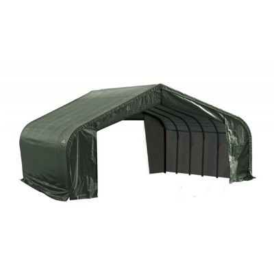 "Peak Style Storage Shelter, 2-3/8"" Frame, Green Cover 22 x 24 x 11 ft. 78641"