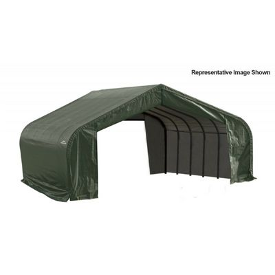 "Peak Style Storage Shelter, 2-3/8"" Frame, Green Cover 22 x 24 x 13 ft. 82144"