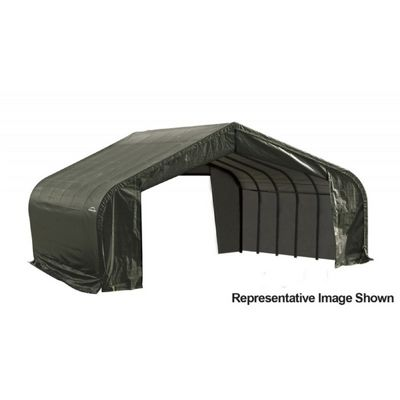 "Peak Style Storage Shelter, 2-3/8"" Frame, Green Cover 22 x 28 x 11 ft. 78741"