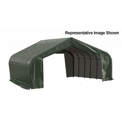 "Peak Style Storage Shelter, 2-3/8"" Frame, Green Cover 22 x 28 x 13 ft. 82244"