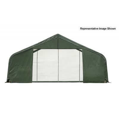 "Peak Style Storage Shelter, 2-3/8"" Frame, Green Cover 30 x 24 x 16 ft. 86048"