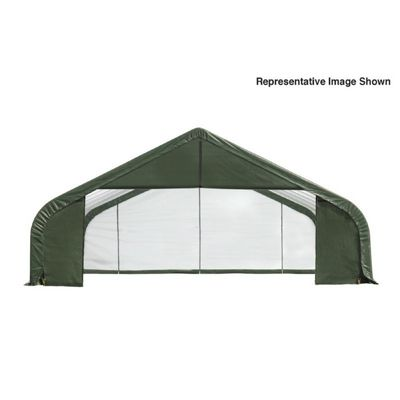 "Peak Style Storage Shelter, 2-3/8"" Frame, Green Cover 30 x 24 x 20 ft. 86067"