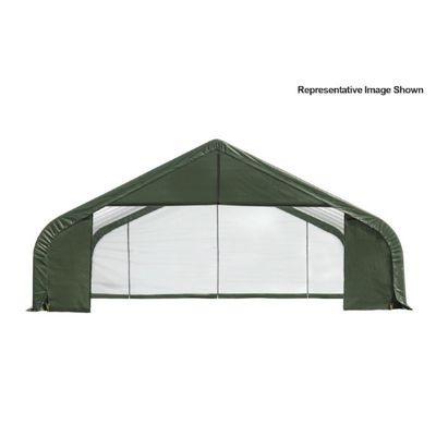 "Peak Style Storage Shelter, 2-3/8"" Frame, Green Cover 30 x 28 x 16 ft. 86052"