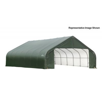 "Peak Style Storage Shelter, 2-3/8"" Frame, Green Cover 30 x 28 x 20 ft. 86071"