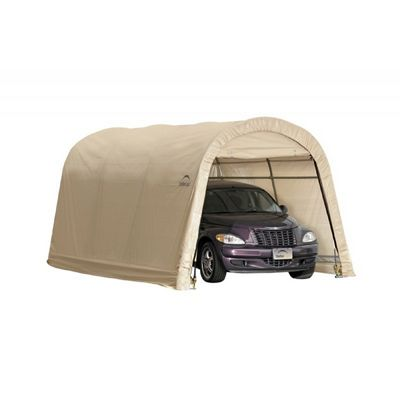 "Round Style Auto Shelter, 1-3/8"" 4-Rib Frame, Sandstone Cover 10 x 15 x 8 ft. 62689"