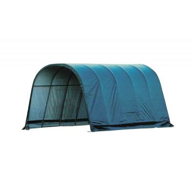 Round Style Run-In Shelter, Green Cover 12x20x10 51351